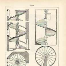 Coleccionismo: LAMINA ESPASA 1610: TIPOS DE ESCALERAS. Lote 133638682