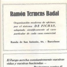Coleccionismo: AÑO 1926 PUBLICIDAD RAMON TERMENS BADAL DE FICHAS OFICINA MINIMAX CENTRAL ESPAÑOLA. Lote 133888002