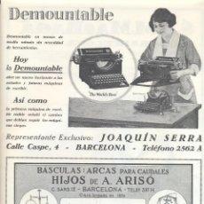 Coleccionismo: AÑO 1926 PUBLICIDAD DEMOUNTABLE MAQUINA ESCRIBIR JOAQUIN SERRA BASCULA ARCAS CAUDALES HIJOS A ARISO. Lote 133888922