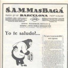 Coleccionismo: AÑO 1926 PUBLICIDAD ESTUFA J.M.B. J M B MAS BAGA MASBAGA MAS BAGÁ. Lote 133892950