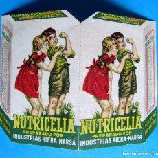 Coleccionismo: DIPTICO QUE SIMULA SER UN PAQUETE DE NUTRICELIA. INDUSTRIAS RIERA MARSA, SIN FECHA.. Lote 134112654