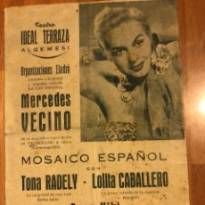 Coleccionismo: PROGRAMA TEATRO IDEAL ALGEMESÍ.MERCEDES VECINO TONA RADELY LOLITA CABALLERO.MOSAICO ESPAÑOL 1952. Lote 134960301