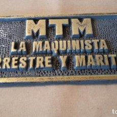 Coleccionismo: PLACA DE LA MAQUINISTA. Lote 135432718