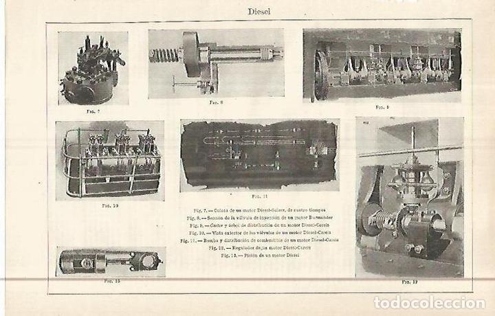 LAMINA ESPASA 29583: MOTOR DIESEL (Coleccionismo - Laminas, Programas y Otros Documentos)