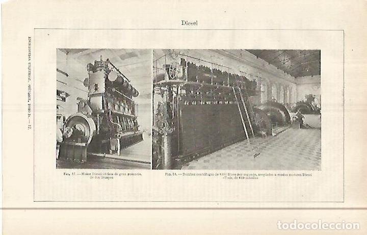 LAMINA ESPASA 29586: MOTOR DIESEL ATLAS Y BOMBAS CON MOTOR TOSI (Coleccionismo - Laminas, Programas y Otros Documentos)