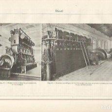 Coleccionismo: LAMINA ESPASA 29586: MOTOR DIESEL ATLAS Y BOMBAS CON MOTOR TOSI. Lote 135443351