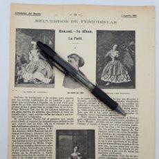 Coleccionismo - Recuerdos de periodistas. Ronconi. La Patti. Origenes del modernísmo ornamental. Y otros art... 1901 - 135492231