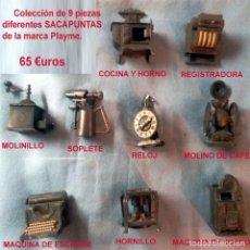 Coleccionismo: COLECCION DE 9 SACAPUNTAS DIFERENTES EN MINIATURAS. MARCA PLAYME.ESPAÑA.. Lote 135573582
