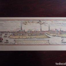 Coleccionismo: GRABADO COLOREADO DE LA CIUDAD DE HAMBURGO EN 1591. Lote 135600814