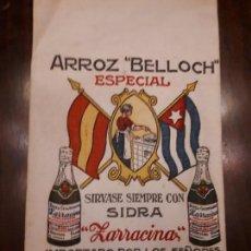 Coleccionismo: ANTIGUO SACO DE ARROZ BELLOCH ESPECIAL. VALENCIA. TELA. SÍRVASE CON SIDRA ZACARÍAS.. Lote 136232518