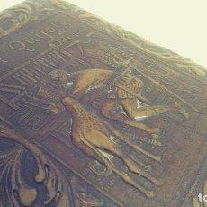 Coleccionismo: CAJA CIGARRERA CON DON QUIJOTE EN CUERO REPUJADO. Lote 136591054