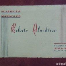 Coleccionismo: ASPE(ALICANTE)MUEBLES - MÁRMOLES. ANTIGUA TARJETA COMERCIAL.. Lote 136611298
