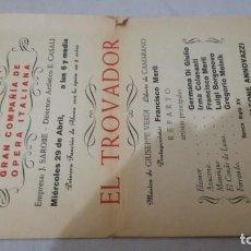Coleccionismo: TEATRO GAYARRE-ZARAGOZA-OPERA EL TROVADOR-FRANCISCO MERLI-VERDI-PROGRAMA. Lote 136651678