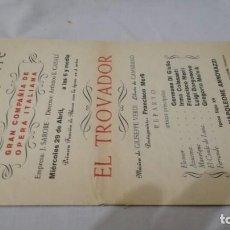 Coleccionismo: TEATRO GAYARRE-ZARAGOZA-OPERA EL TROVADOR-FRANCISCO MERLI-VERDI-PROGRAMA. Lote 136651742