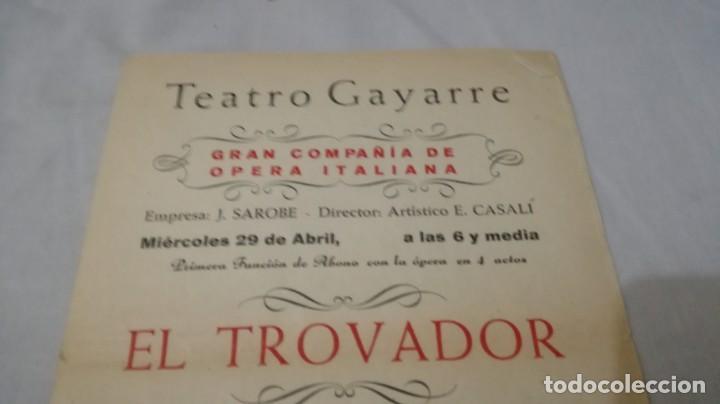 Coleccionismo: TEATRO GAYARRE-ZARAGOZA-OPERA EL TROVADOR-FRANCISCO MERLI-VERDI-PROGRAMA - Foto 4 - 136651742
