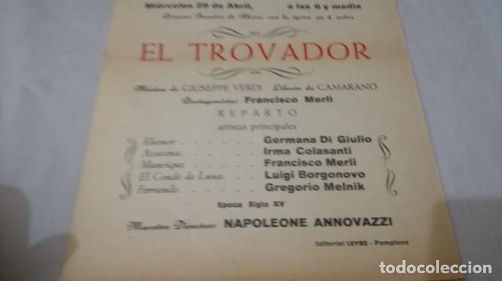 Coleccionismo: TEATRO GAYARRE-ZARAGOZA-OPERA EL TROVADOR-FRANCISCO MERLI-VERDI-PROGRAMA - Foto 5 - 136651742