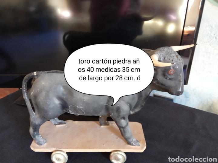Coleccionismo: Juguete pieza de museo toro carton piedra años 30 - Foto 7 - 137168724