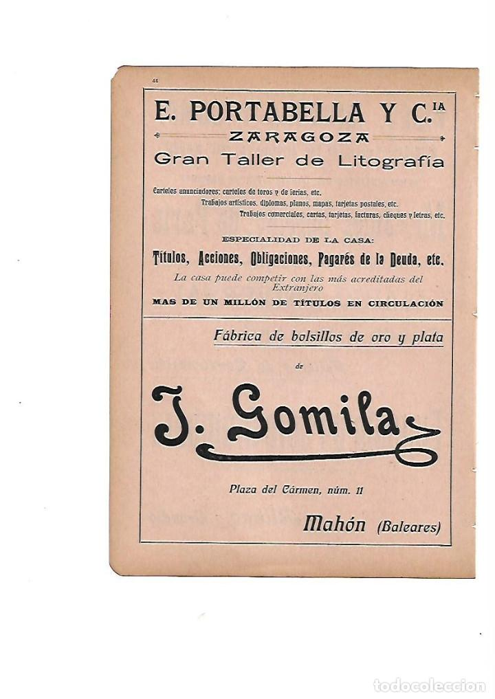AÑO 1910 PUBLICIDAD LITOGRAFIA PORTABELLA ZARAGOZA GOMILA MAHON MENORCA BOLSILLOS ORO Y PLATA (Coleccionismo - Laminas, Programas y Otros Documentos)
