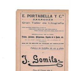 Coleccionismo: AÑO 1910 PUBLICIDAD LITOGRAFIA PORTABELLA ZARAGOZA GOMILA MAHON MENORCA BOLSILLOS ORO Y PLATA. Lote 137237394