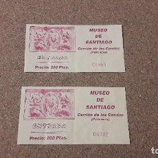Coleccionismo: DOS TICKETS DE ENTRADA AL MUSEO DE SANTIAGO...CARRIÓN DE LOS CONDES (PALENCIA).... Lote 137549110
