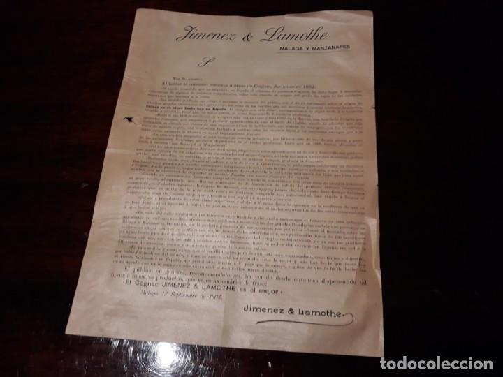 ANTIGUA HOJA DE PUBLICIDAD DEL COGNAC JIMENEZ LAMOTHE , EN MALAGA EL 1º DE SEPTIEMBRE DE 1903 (Coleccionismo - Laminas, Programas y Otros Documentos)