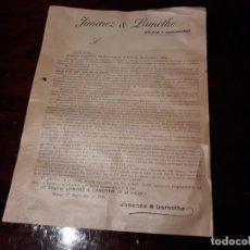 Coleccionismo: ANTIGUA HOJA DE PUBLICIDAD DEL COGNAC JIMENEZ LAMOTHE , EN MALAGA EL 1º DE SEPTIEMBRE DE 1903. Lote 137938074