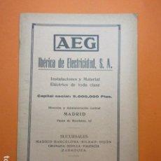 Coleccionismo: PUBLICIDAD 1929 - AEG IBERIA DE ELECTRICIDAD. Lote 138608714