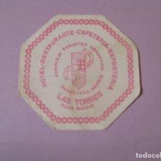 Coleccionismo: POSAVASOS HOTEL RESTAURANTE-CAFETERÍA- REPOSTERÍA LAS TORRES.. Lote 139571170