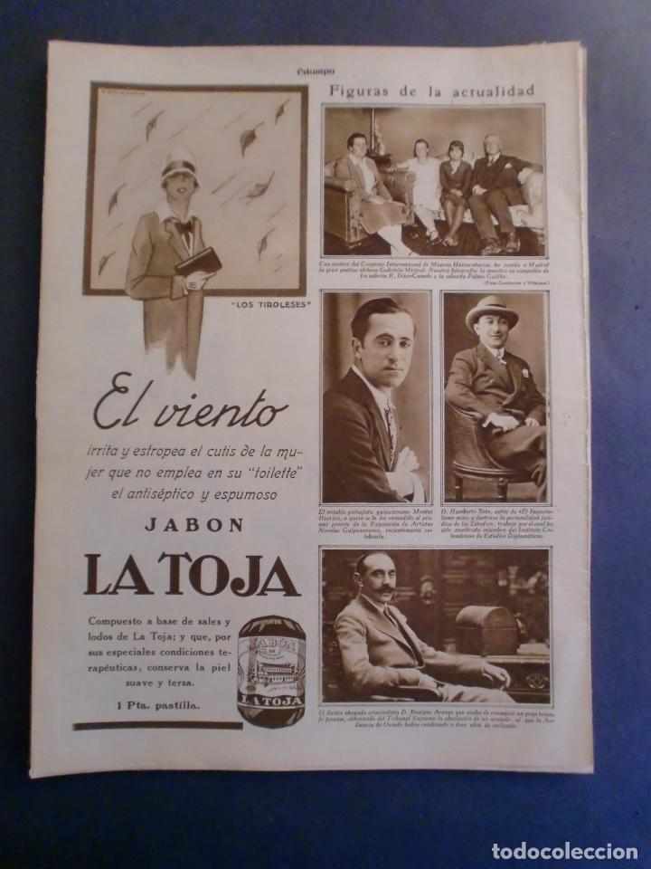 09/10/1929 JABÓN LA TOJA - GABRIELA MISTRAL - MONTES ITURRIOZ - MADRID ATHLETIC FUTBOL (Coleccionismo - Laminas, Programas y Otros Documentos)
