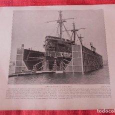 Coleccionismo: DIQUE FLOTANTE DE CARTAGENA. ANTIGUA LÁMINA. AÑO 1898.. Lote 140122374