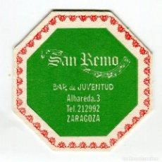 Coleccionismo: POSAVASOS ZARAGOZA SAN REMO BAR DE JUVENTUD. Lote 140932754