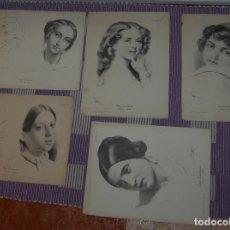 Coleccionismo: LAMINA DE DIBUJO MONROCO LOTE DE CINCO LÁMINAS AÑOS 20 CON ROSTROS DE MUJER . Lote 141342102