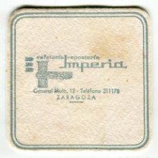 Coleccionismo: POSAVASOS ZARAGOZA IMPERIA CAFETERIA REPOSTERIA. Lote 141514622