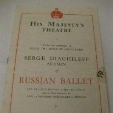 Coleccionismo: PROGRAMA HIS MAJESTY'S THEATRE . TEATRO RUSSIAN BALLET .16 PÁG . AÑOS 20 . Lote 141517222
