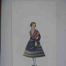 Coleccionismo: LAMINA TRAJE REGIONAL DE ALBACETE, REGALO LABORATORIOS CASEN DE ZARAGOZA. 1970 . 15,5 X 30 CM.. Lote 141739158