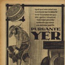 Coleccionismo: AÑO 1923 RECORTE PRENSA PUBLICIDAD PURGANTE YER . Lote 141944694