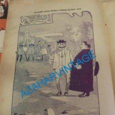Coleccionismo: SEVILLA, 1902, CARICATURA UN PUEBLO EN LAS ULTIMAS,O GELVES NO TIENE CURA,FIRMADA POR MANOLO, 21X30 . Lote 142127174