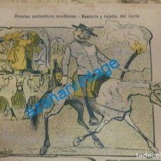 Coleccionismo: SEVILLA, 1902, CARICATURA ROMERIA Y TAJADA DEL ROCIO,FIRMADA POR MANOLO, 18X15 CM. Lote 142127358
