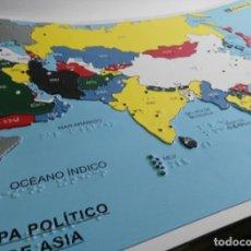 Coleccionismo: BRAILLE - MAPA POLITICO DE ASIA EN RELIEVE - ONCE - 62 X 46 CM.. Lote 142500826