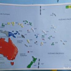 Coleccionismo: BRAILLE - MAPA POLITICO DE OCEANIA EN RELIEVE - ONCE - 61,5 X 40 CM.. Lote 142501270