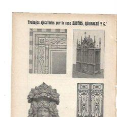 Coleccionismo: AÑO 1919 PUBLICIDAD BASTUS QUERALTO Y COMPAÑIA ESCULTURA DECORATIVA PARQUETS CARPINTERIA. Lote 142629510