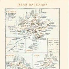 Coleccionismo - LAMINA ESPASA 30751: Mapa de las Islas Baleares - 142678536