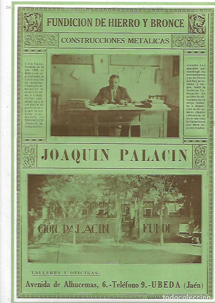 AÑO 1927 PUBLICIDAD JOAQUIN PALACIN UBEDA JAEN FUNDICION DE HIERRO Y BRONCE CONSTRUCCIONES METALICAS (Coleccionismo - Laminas, Programas y Otros Documentos)