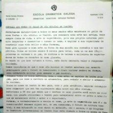 Coleccionismo: ESCOLA DRAMÁTICA GALEGA. MIKHAIL TEAREV. MENSAXE AOS HOMES NO DÍA MUNDIAL DO TEATRO. 1985. Lote 143820146