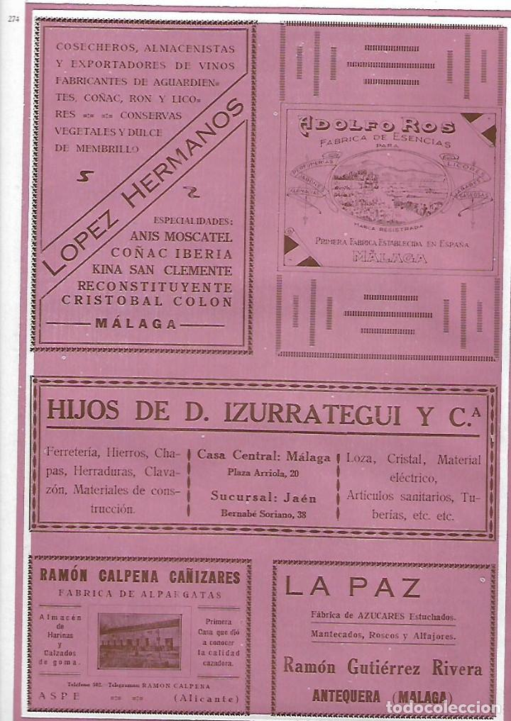 AÑO 1927 PUBLICIDAD MALAGA LOPEZ HERMANOS ADOLFO ROS ESENCIAS HIJOS DE IZURRATEGUI FERRETERIA (Coleccionismo - Laminas, Programas y Otros Documentos)