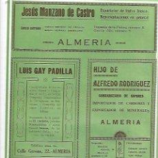 Coleccionismo: AÑO 1927 PUBLICIDAD JESUS MANZANO DE CASTRO ALMERIA FRUTA FRESCA LUIS GAY PADILLA CONSIGNATARIO . Lote 143846762