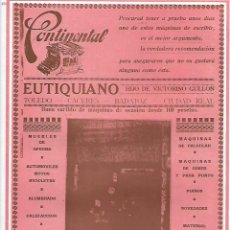 Coleccionismo: AÑO 1927 PUBLICIDAD EUTIQUIANO VICTORINO GULLON MUEBLES OFICINA MAQUINA ESCRIBIR CONTINENTAL TOLEDO. Lote 143920766