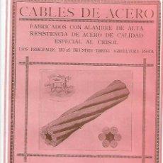 Coleccionismo: AÑO 1927 PUBLICIDAD SOCIEDAD ANONIMA JOSE MARIA QUIJANO FORJAS DE BUELNA SANTANDER CABLES DE ACERO. Lote 144006398