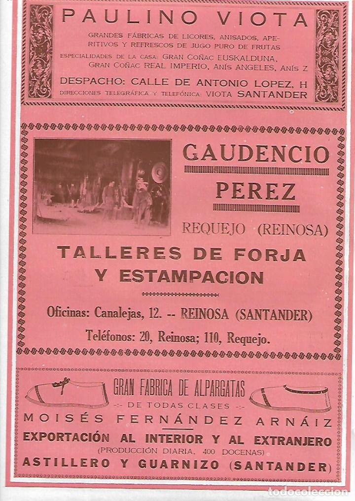 AÑO 1927 PUBLICIDAD PAULINO VIOTA SANTANDER MOISES FERNANDEZ ARNAIZ ALPARGATAS ASTILLERO GUARNIZO (Coleccionismo - Laminas, Programas y Otros Documentos)