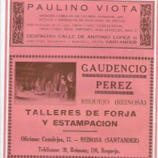 Coleccionismo: AÑO 1927 PUBLICIDAD PAULINO VIOTA SANTANDER MOISES FERNANDEZ ARNAIZ ALPARGATAS ASTILLERO GUARNIZO. Lote 144117918